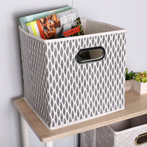 Fern Collapsible Non-Woven Storage Bin with Grommet Handle, Black