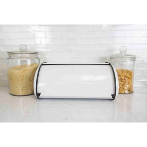 Roll-Top Lid Steel Bread Box, White
