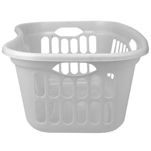 Curved Hip Holding Large Capacity Lightweight Plastic Laundry Basket with Easy Grab Handles, White