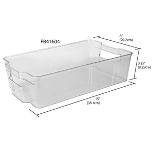 X-Large Plastic Fridge Bin with Handle, Clear
