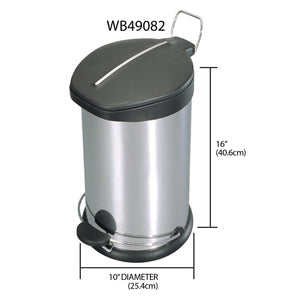 12 Liter Brushed Stainless Steel  with Plastic Top Waste Bin, Silver
