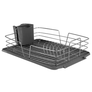 Michael Graves Design Deluxe Dish Rack with Satin Nickel Finish Wire and Removable Dual Compartment Utensil Holder, Grey/Silver