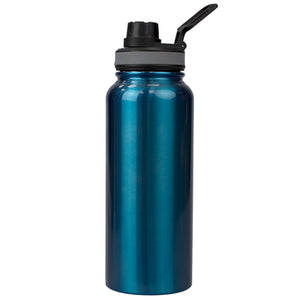 Home Basics Modern Metallic Stainless Steel Travel Water Bottle with Leak-Proof Flip Cap and Built-in Plastic Carrying Loop, Aqua - Aqua