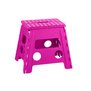 Home Basics Large Plastic Folding Stool with Non-Slip Dots, Pink - Pink