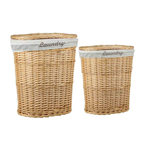 2 Piece Wicker Hamper with Removeable Liner, Natural
