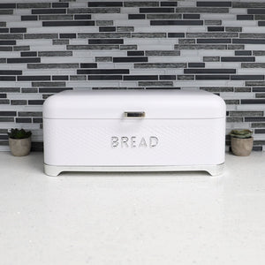 Michael Graves Design Soho Swing Up Lid Tin Bread Box, White