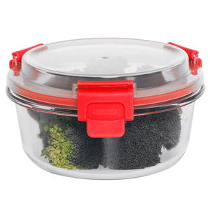 Leak Proof  21  oz. Round  Borosilicate Glass Food Storage Container with Air-tight Plastic Lid, Red