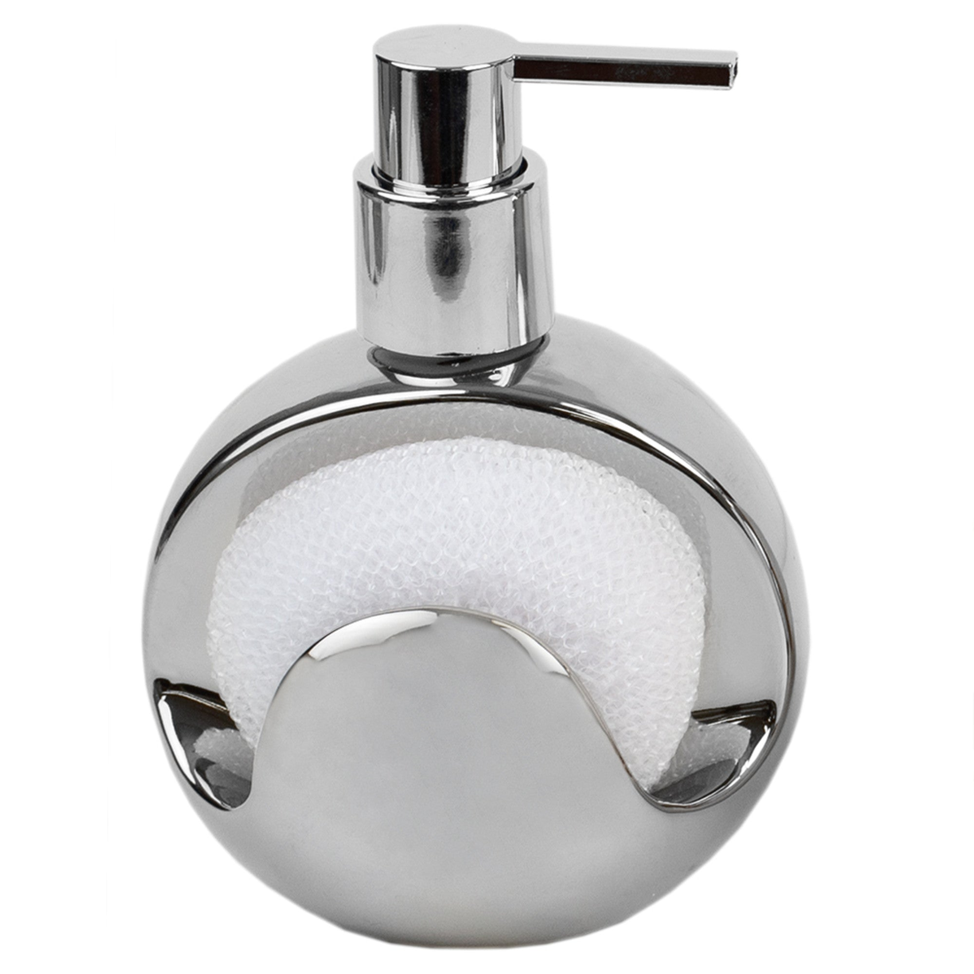 Home Basics Cosmic Ceramic Soap Dispenser with Steel Top and Fixed Sponge Holder, Silver - Silver