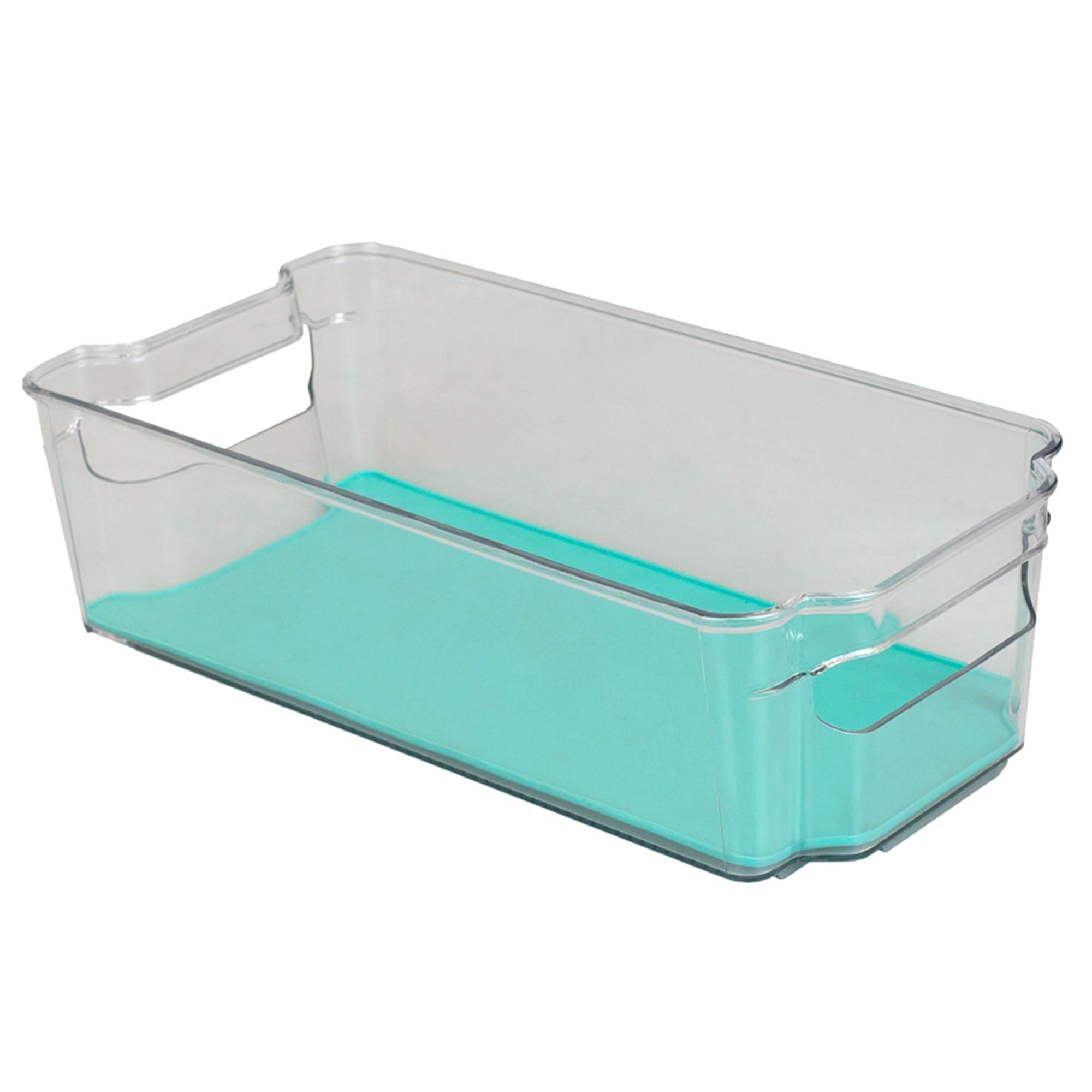 "6"" x 15"" Multi-Purpose Plastic Fridge Bin with Rubber Lining, Turquoise"