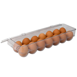 Michael Graves Design Stackable 14 Compartment Plastic Egg Container with Lid, Clear