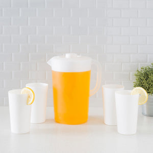 2 LT Classic Plastic Pitcher with Four Tumblers, White