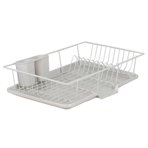 3 Piece Vinyl Coated Steel Dish Drainer with Drip Tray, Silver