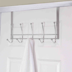 Chrome Plated Steel Over the Door 5 hook Hanging Rack