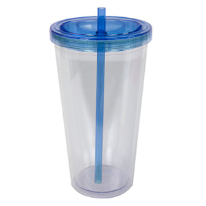Home Basics 16 oz. Plastic Infuser Tumbler with Straw - Blue