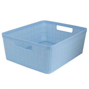 Home Basics Trellis Large Plastic Storage Basket with Cut-Out Handles, Blue - Blue