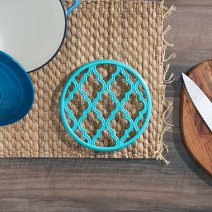 Lattice Collection Round Heavy Weight Multi-Purpose Decorative Cast Iron Trivet with Soft Non-Skid Rubber Peg Feet, Turquoise