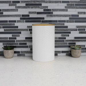 Honeycomb Large  Ceramic Canister, White