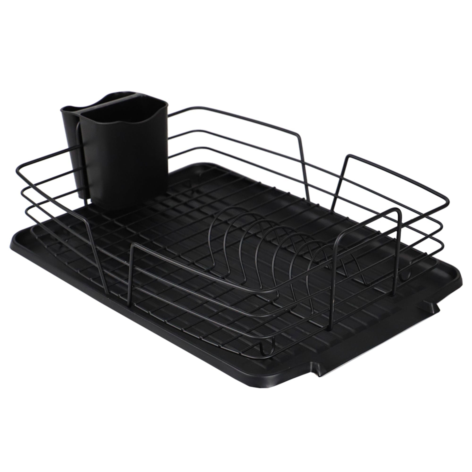 Michael Graves Design Deluxe Dish Rack with Black Finish Wire and Removable Dual Compartment Utensil Holder, Black