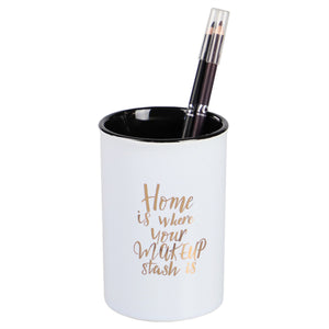 Home Basics Ceramic Cosmetic Cup Make Up Brush Cylinder Shaped Utensil Holder, Home - Multi-Color
