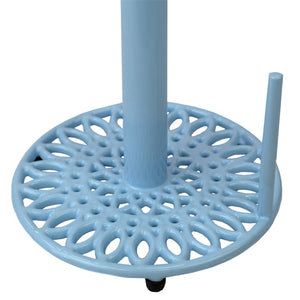Sunflower Free-Standing Cast Iron Paper Towel Holder with Dispensing Side Bar, Blue