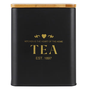 Bistro 50 oz. Tin Tea Canister with Bamboo Lid, Black