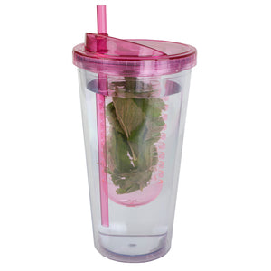 Home Basics 16 oz. Plastic Infuser Tumbler with Straw - Pink