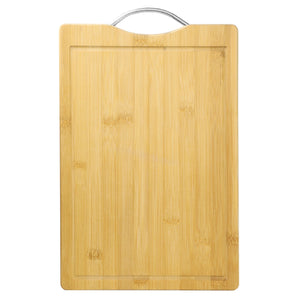"10"" x 15"" Bamboo Cutting Board with Juice Groove and Stainless Steel Handle"