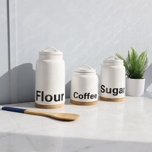 3 Piece Ceramic Canister Set with Bamboo Accents, White