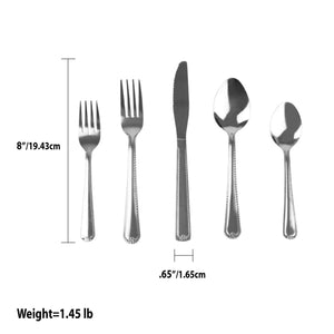 Empire 20 Piece Stainless Steel Flatware Set, Silver