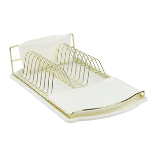 Michael Graves Design Gold Finish Steel Wire Compact Dish Rack with Oversized Utensil Holder, White