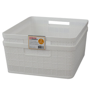"Home Basics Trellis 13.5"""" x 11.25"""" x 5.25"""" Multi-Purpose Stackable Plastic Storage Basket, (Pack of 2), White - White"