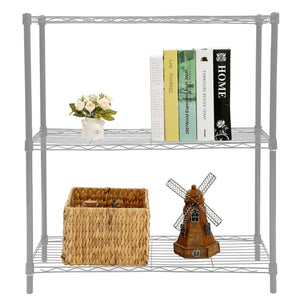 3 Tier Wide Steel Wire Shelf, Grey