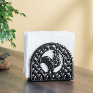 Cast Iron Rooster Napkin Holder, Black