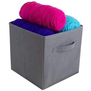 Collapsible and Foldable Non-Woven Storage Cube, Charcoal