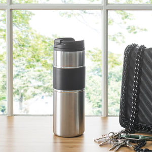 Home Basics Stainless Steel Travel Mug with Rubber Grip - Silver