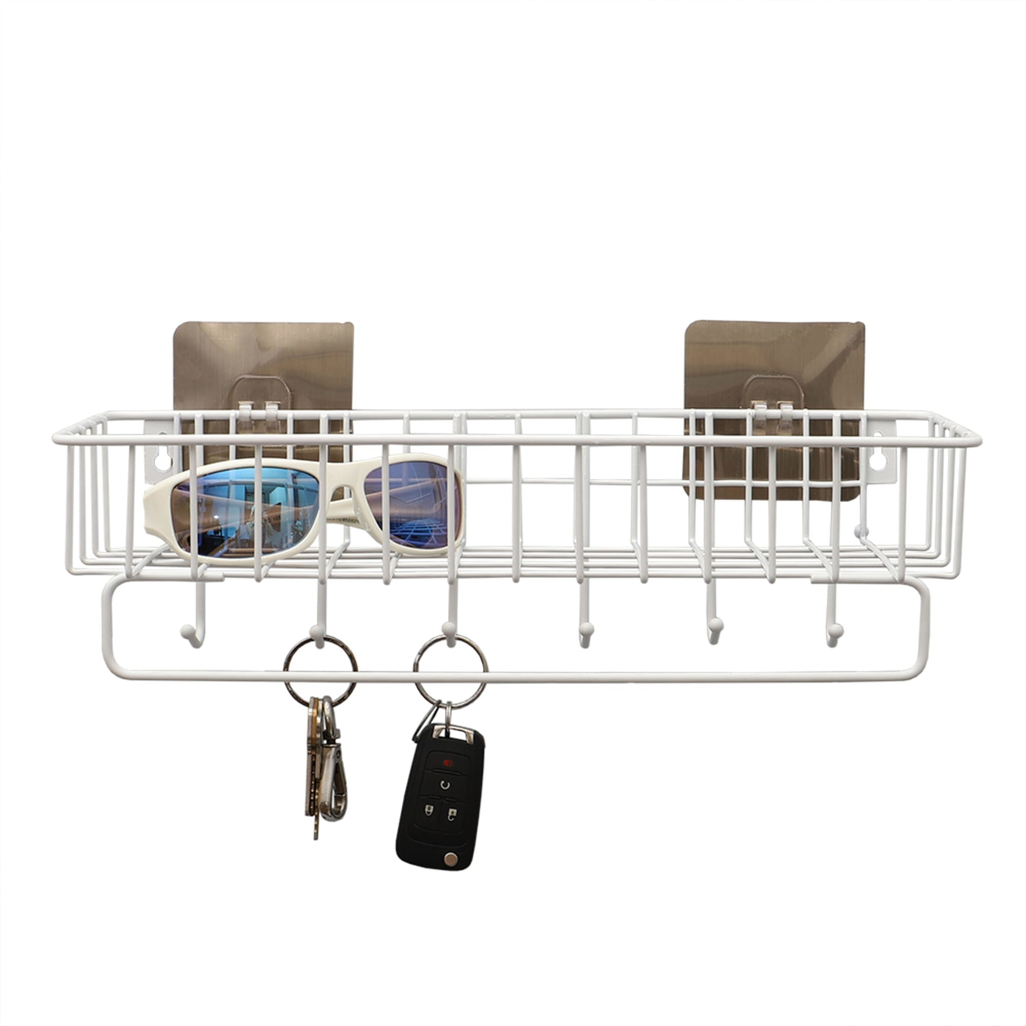 Wall Mounted 6 Hook Vinyl Coated Key Rack with Basket, White