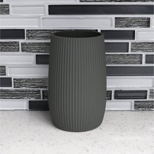 Rubberized Ribbed Plastic Bathroom Cup Tumbler