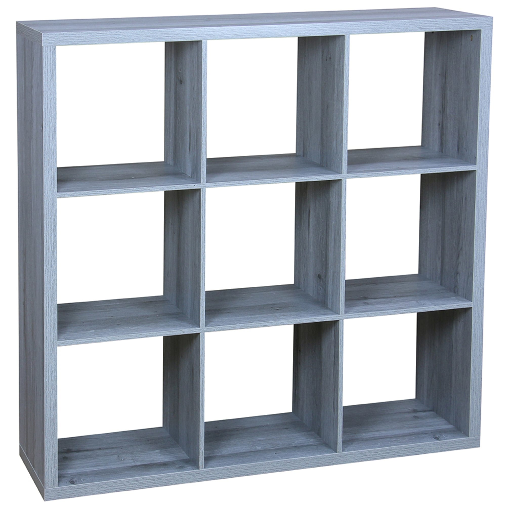 9 Open Cube Organizing Wood Storage Shelf, Grey