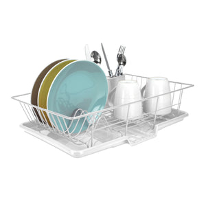 3 Piece Vinyl Coated Steel Dish Drainer, White
