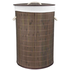 Round Foldable Bamboo Hamper, Brown
