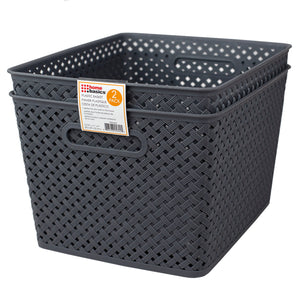 "Home Basics Triple Woven 14"" x 11.75"" x 8.75"" Multi-Purpose Stackable Plastic Storage Basket, (Pack of 2), Grey - Grey"