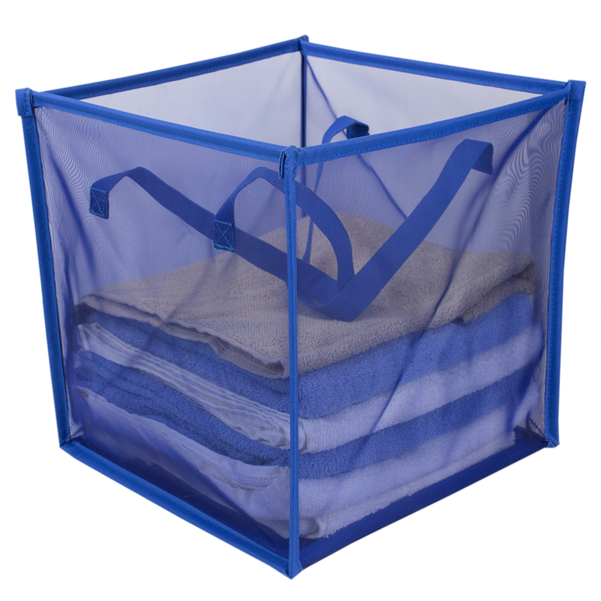 Home Basics Breathable Micro Mesh Collapsible Laundry Cube with Handles, Blue - Blue