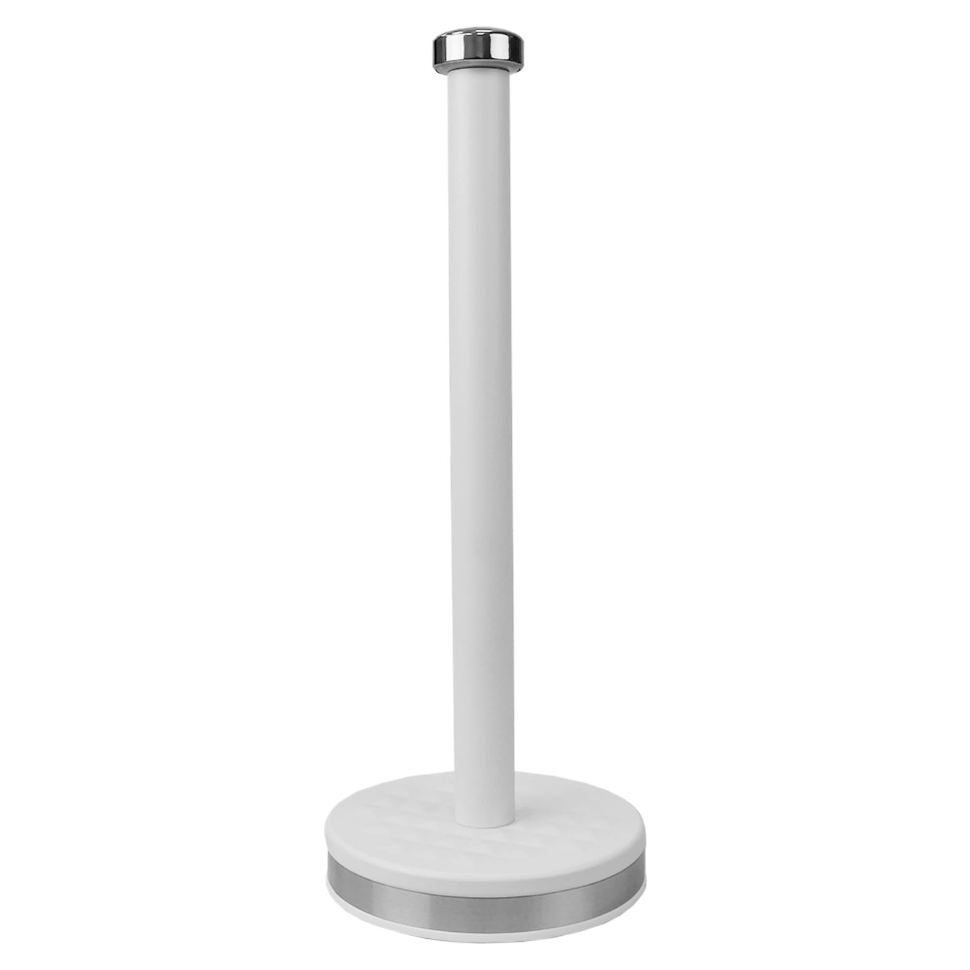 Michael Graves Design Soho Freestanding Tin Paper Towel Holder with Easy Twist On Finial, White