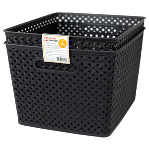 "Home Basics Triple Woven 14"" x 11.75"" x 8.75"" Multi-Purpose Stackable Plastic Storage Basket, (Pack of 2), Black - Black"