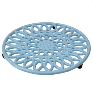 Sunflower Heavy Weight Cast Iron Trivet, Light Blue