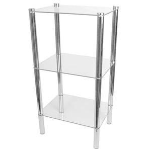 3 Tier Multi Use Rectangle Glass Corner Shelf, Clear