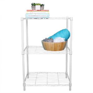 3 Tier Commercial Grade Steel Multi-Purpose Adjustable Wire Shelving Unit with 50 lb Weight Capacity Per Shelf, White