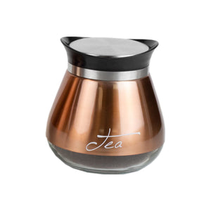 Home Basics 3 Piece Steel Canisters with See-Through Glass Base, Copper
