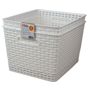 "Home Basics Crossweave 14"" x 11.5"" x 8.75"" Multi-Purpose Stackable Plastic Storage Basket, (Pack of 2), White - White"