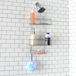 Unity 2 Tier Shower Caddy with Bottom Hooks and Center Soap Dish Tray